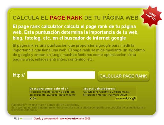 Calculadora de pagerank para el buscador google